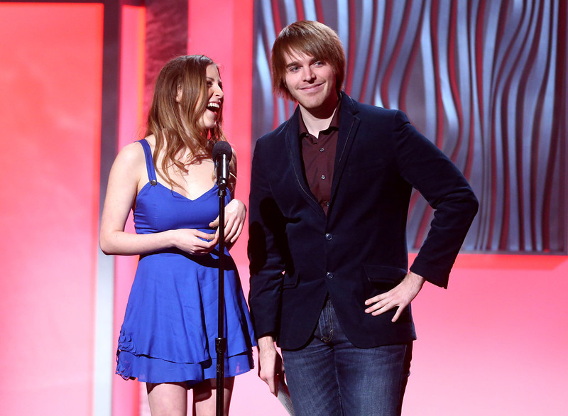 . Presenters Eden Sher and Shane Dawson speak onstage at the 3rd Annual Streamy Awards at Hollywood Palladium on February 17, 2013 in Hollywood, California.  (Photo by Frederick M. Brown/Getty Images)