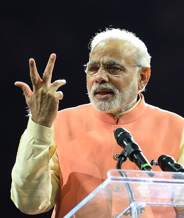 . Prime Minister Narendra Modi of India speaks to supporters during a community reception September 28, 2014 at Madison Square Garden in New York. Modi received a rock star reception as thousands cheered on the new right-wing leader in a packed arena. Modi, a Hindu nationalist who swept to power earlier this year, addressed the United Nations on September 27 at the start of a visit to the United States, which is eager to court him after shunning the right-wing leader for a decade. DON EMMERT/AFP/Getty Images