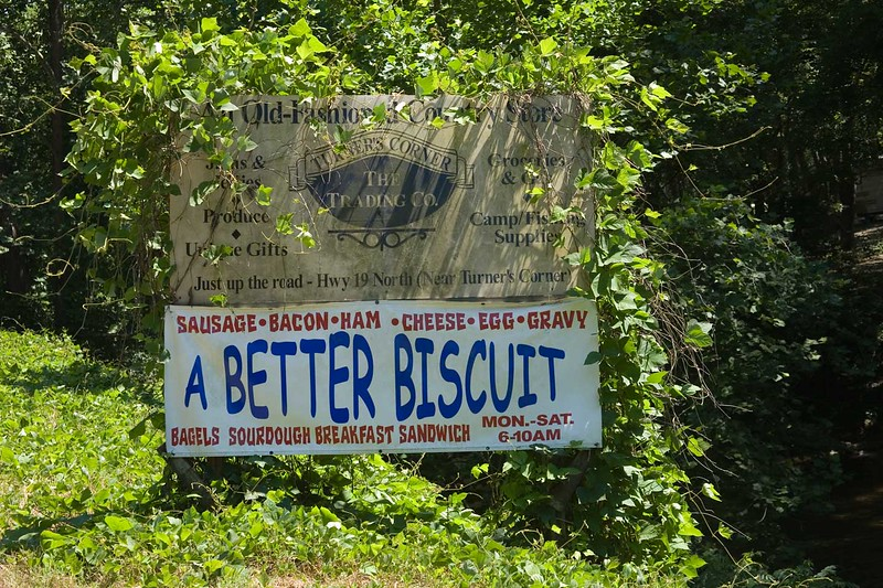 Sign shown in previous slide with out much kudzu.