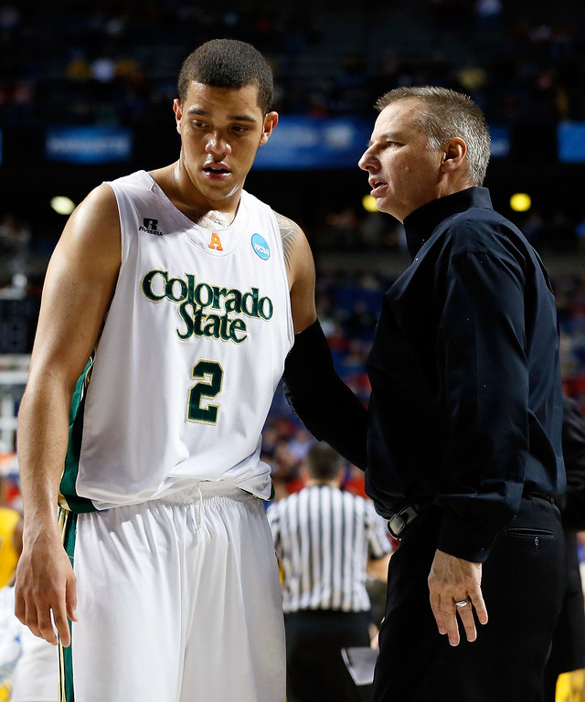 . LEXINGTON, KY - MARCH 21:  Head coach Larry Eustachy of the Colorado State Rams talks with Daniel Bejarano #2 on the becnh against the Missouri Tigers during the second round of the 2013 NCAA Men\'s Basketball Tournament at the Rupp Arena on March 21, 2013 in Lexington, Kentucky.  (Photo by Kevin C. Cox/Getty Images)