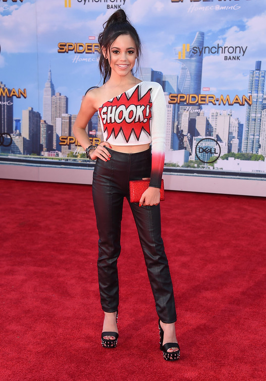""". Jenna Ortega arrives at the Los Angeles premiere of \""""Spider-Man: Homecoming\"""" at the TCL Chinese Theatre on Wednesday, June 28, 2017. (Photo by Jordan Strauss/Invision/AP)"""
