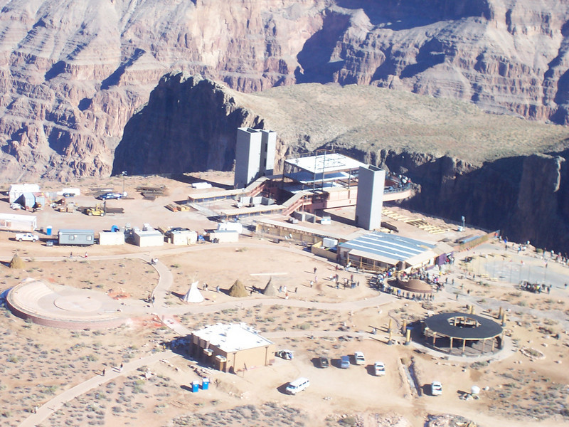 Hualapai Nation's tourist attraction at Grand Canyon West. The Skywalk glass bridge is seen in the center.