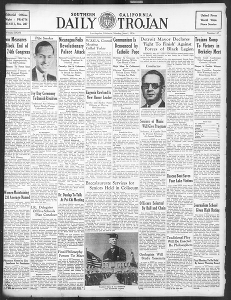 Daily Trojan, Vol. 27, No. 147, June 01, 1936