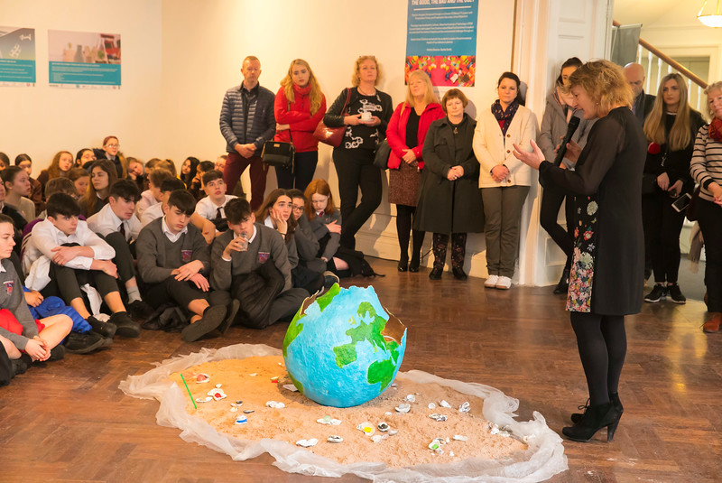 "15/01/2019. FREE TO USE IMAGE. Pictured at Garter Lane Arts Centre, Waterford city at an art exhibition ""the good, the bad and the ugly"" that discusses plastics. Recycle, reuse, reduce, replace – WIT and Waterford schoolgirls to exhibit exceptional art installation with thought-provoking components made from household plastics. Picture: Patrick Browne"
