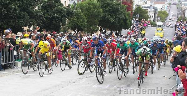 US National Champion Fred Rodriguez leads a wobbly peloton on Fillmore Street.