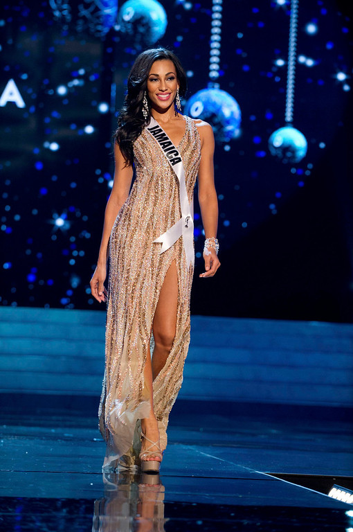 . Miss Jamaica 2012 Chantal Zaky competes in an evening gown of her choice during the Evening Gown Competition of the 2012 Miss Universe Presentation Show in Las Vegas, Nevada, December 13, 2012. The Miss Universe 2012 pageant will be held on December 19 at the Planet Hollywood Resort and Casino in Las Vegas. REUTERS/Darren Decker/Miss Universe Organization L.P/Handout