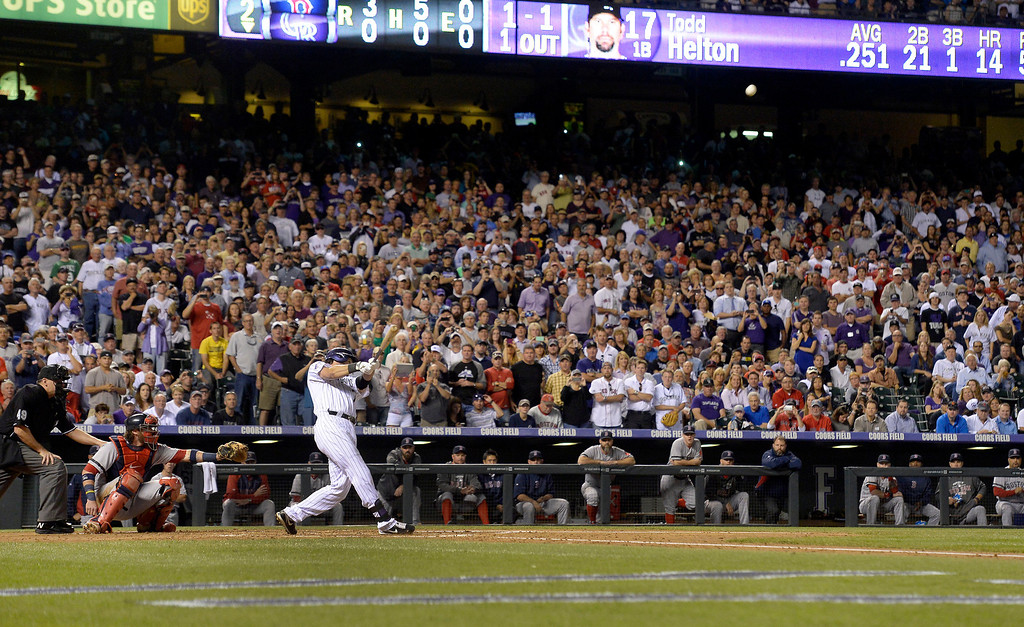 . Todd Helton\'s number was mowed on the outfield in honor of his last home game as a member of the Colorado Rockies. (Photo By John Leyba/The Denver Post)