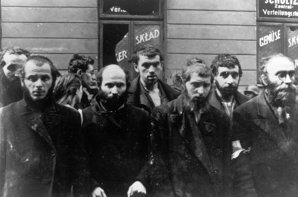 . In this April/May 1943 file photo, a group of religious Jews are being held under arrest by German SS soldiers during the destruction of the Warsaw Ghetto by German troops, following an uprising in the Jewish quarter. Friday, April 19, 2013 anniversary of the start of the Warsaw ghetto uprising, a revolt that ended in death for most of the fighters yet gave the world an enduring symbol of resistance against the odds. (AP Photo)