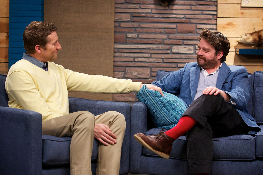 ". Guest Zach Galifianakis discusses his place in the pantheon of comic actors in IFC\'s ""Comedy Bang! Bang!\""  (Photo by Chris Ragazzo/IFC)"