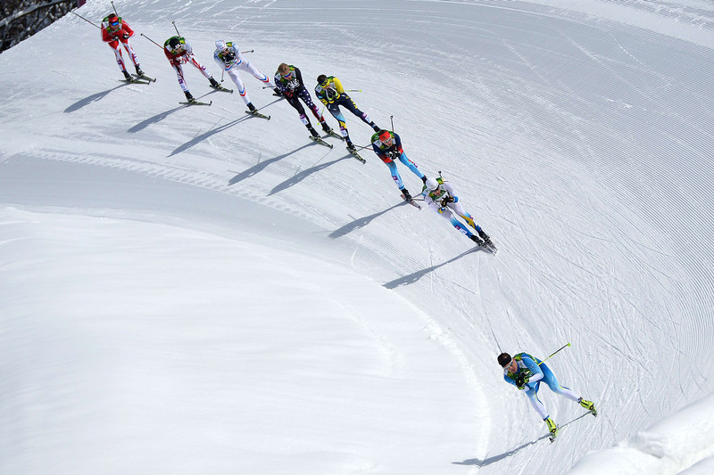 . From front to back:- Finland\'s Sami Jauhojaervi, Sweden\'s Teodor Peterson, Russia\'s Nikita Kriukov, Kazakhstan\'s Alexey Poltoranin, US Erik Bjornsen, France\'s Jean Marc Gaillard and Japan\'s Yuichi Onda  competes in the Men\'s Cross-Country Skiing Team Sprint Classic Semifinals at the Laura Cross-Country Ski and Biathlon Center during the Sochi Winter Olympics on February 19, 2014 in Rosa Khutor near Sochi. (ALBERTO PIZZOLI/AFP/Getty Images)