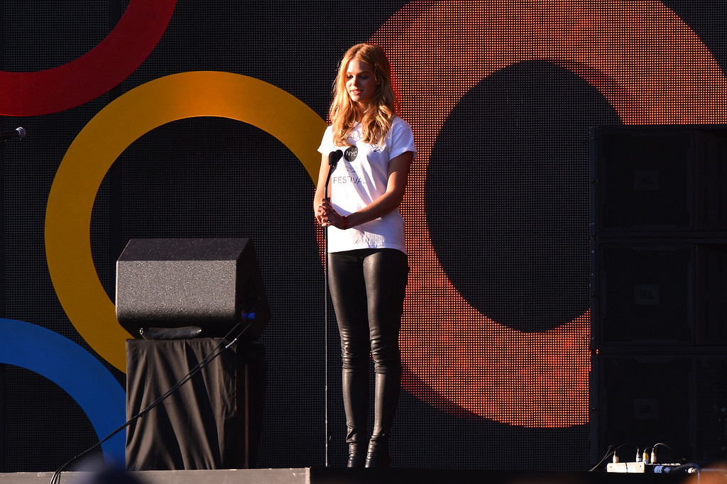 . NEW YORK, NY - SEPTEMBER 28: Model Erin Heatherton appears on stage at the 2013 Global Citizen Festival in Central Park to end extreme poverty on September 28, 2013 in New York City, New York.  (Photo by Stephen Lovekin/Getty Images for Global Citizen Festival)