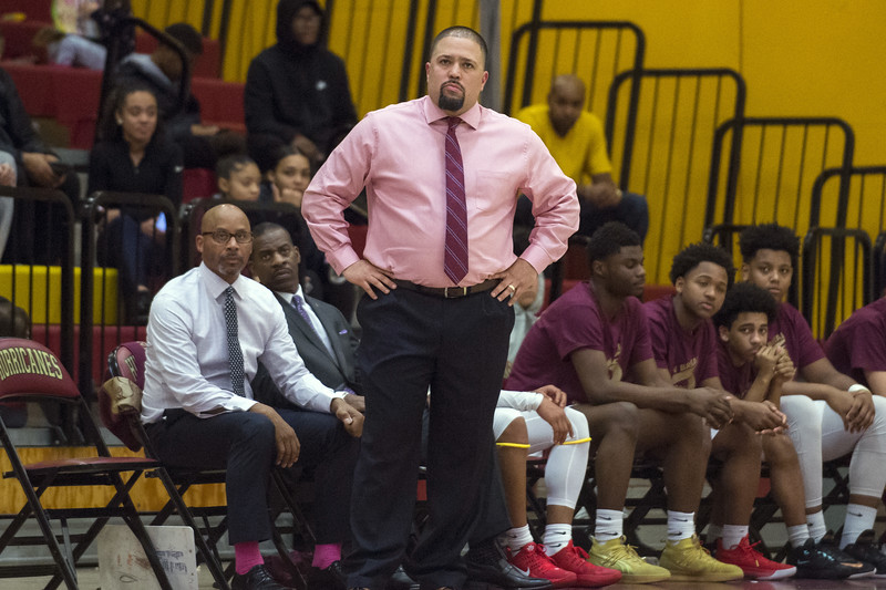 12/30/19  Wesley Bunnell | Staff  New Britain boys basketball vs Naugatuck on Monday night at NBHS. Head coach Kurt Reis.