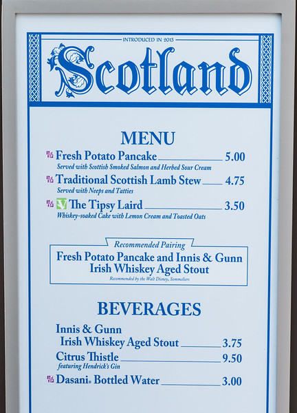 Scotland Menu - Epcot Food & Wine Festival 2016