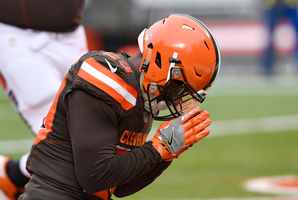 . Cleveland Browns running back Duke Johnson celebrates after scoring a 7-yard touchdown in the first half of an NFL football game against the Green Bay Packers, Sunday, Dec. 10, 2017, in Cleveland. (AP Photo/David Richard)