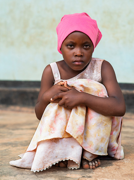 Portrait of a little girl from a small fishing village in Northern Tanzania.  Tanzania, 2019