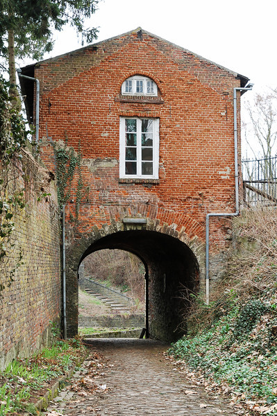 An entrance gate leading to the neo-romanesque Abbey high on the Keizersberg (Emperor's Mountain) in Louvain (Leuven), Belgium.