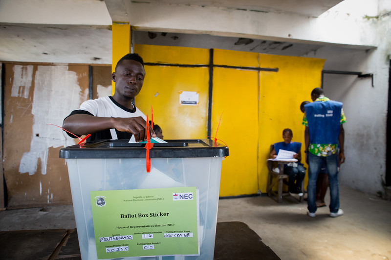 Monrovia, Liberia October 10, 2017 -  A vote is cast on election day.