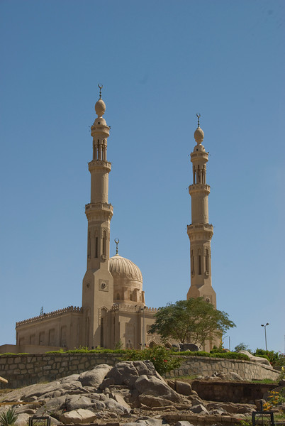 Minarets above the mosque in Aswan, Egypt