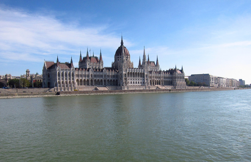 Morning arrival on the Danube, the spectacular Parliament Building ahead