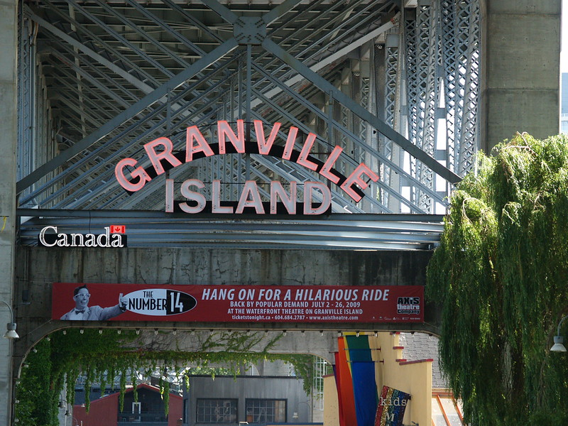 The entrance sign to Granville Island (2009).