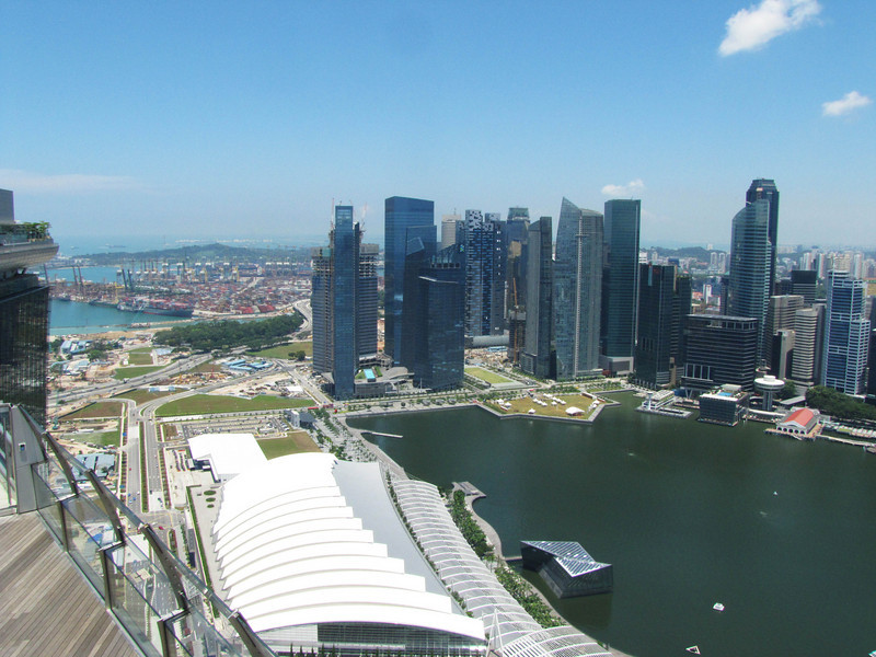 Convention center (white roofs), docks (background), and The Basin