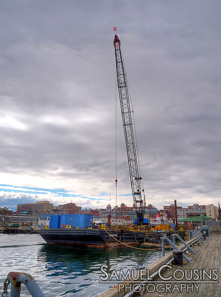 A barge and crane parked at the Maine State Pier. It's there to deliver new logs to be used as replacement pylons in some of the nearby wharfs.