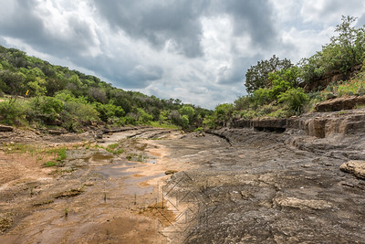 Wide angle view of dry river bed