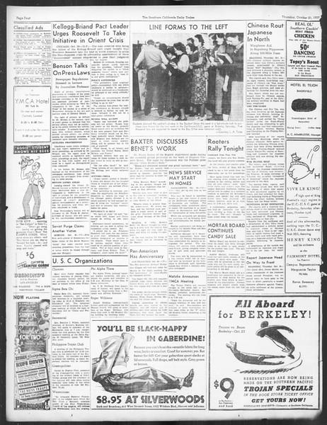 Daily Trojan, Vol. 29, No. 25, October 21, 1937