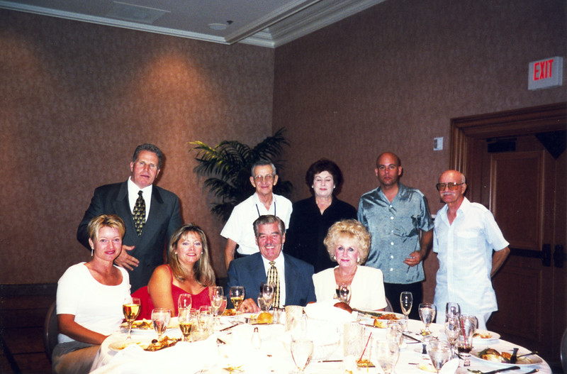 (L-R) Linda and Jim Corlett, my sister Kathi Ballatore Jack and Betty Beasley (front), my Aunt Marian Robbins and friend Ed, my cousin George Sanfilippo and my Uncle Lou Sanfilippo