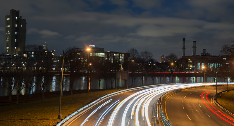 Night time view along the Charles River and Soldiers Field Road