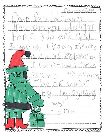 Mrs. Wilson's 2nd Grade Letters to Santa, 12/19/2019