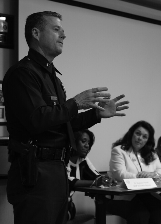 . Captain Todd Chamberlain speaks while Mary Magdalene Project (MMP) Executive Director Stephany Powell and MMP Board President Nancy Eichler-Binn listen. A meeting was held with members of the community at the Mission Community Police Station in Mission Hills, CA. 3/26/2014(Photo by John McCoy / Los Angeles Daily News), CA. 3/6/2014(Photo by John McCoy / Los Angeles Daily News)