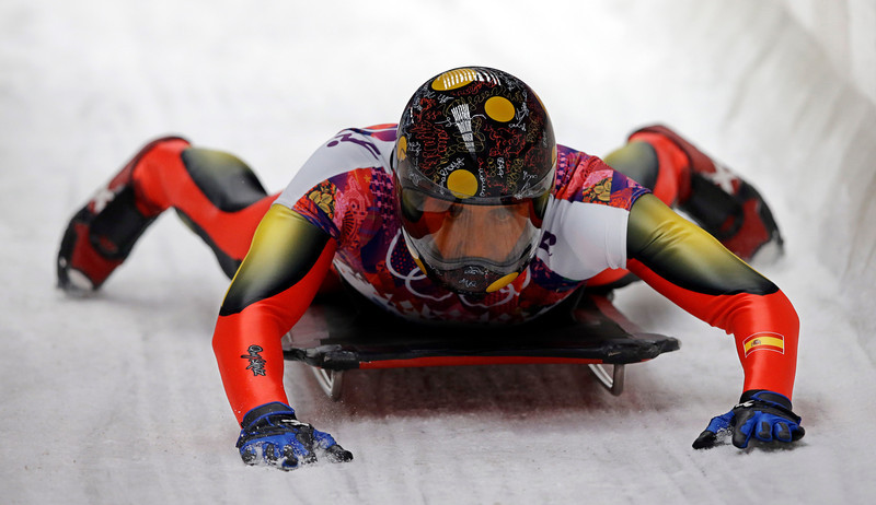 . Ander Mirambell of Spain brakes after his second run during the men\'s skeleton competition at the 2014 Winter Olympics, Friday, Feb. 14, 2014, in Krasnaya Polyana, Russia. (AP Photo/Dita Alangkara)