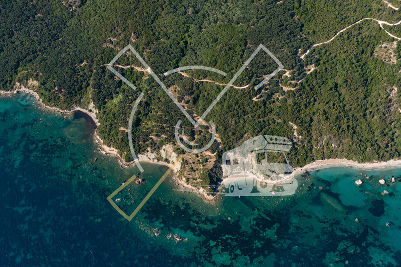 Aerial landscapes showing amazing coastline and beaches at the Ionian Sea