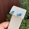 3.47ctw Blue Zircon Hexagon Stud Earrings 11