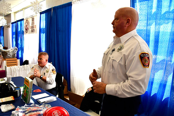 2/16/2019 Mike Orazzi | Staff Bristol Fire Department Fire Inspectors Dave Van Wie and Tim Callanan during the 34th annual Bristol Home & Business Show at Bristol Eastern High School Saturday.