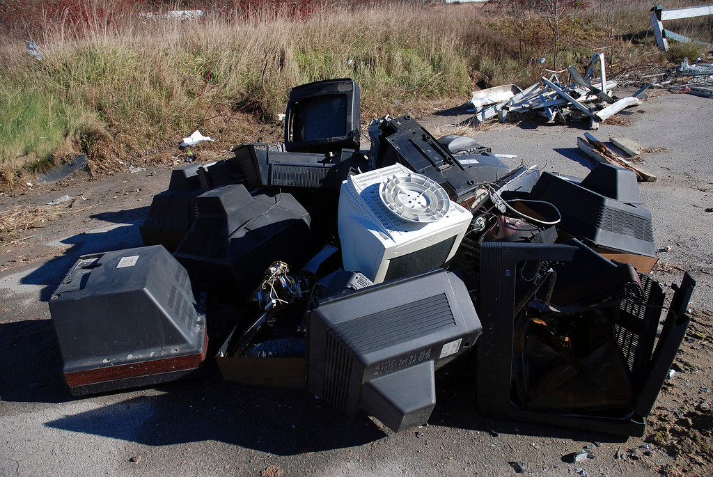 . Kayla Rice/Reformer A pile of television sets and computers lay in a pile outside the site of what was once Hinsdale Greyhound Park. The race track opened for horse racing in 1958 and closed in 2008 after transitioning to a greyhound race track.
