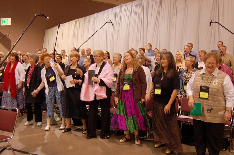 The choir at Thursday's worship service.