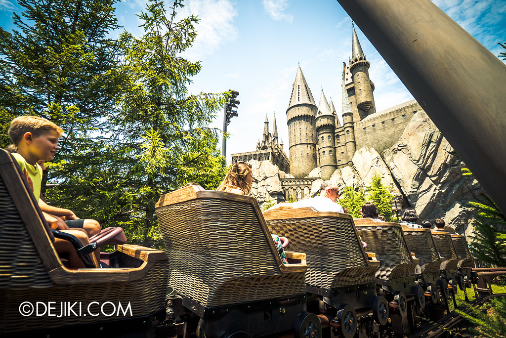 Universal Studios Japan - The Wizarding World of Harry Potter - Flight of the Hippogriff with Hogwarts castle in the background