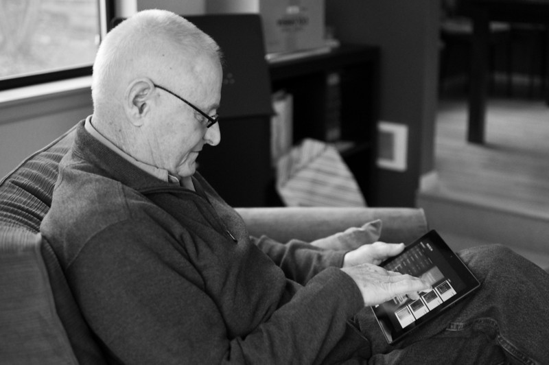 2012 Christmas - Papa playing with the new Surface