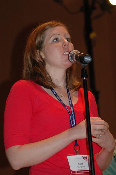 Katie Livingood asks a question of Bishop Hanson