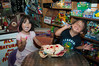 Kids enjoying a banana split