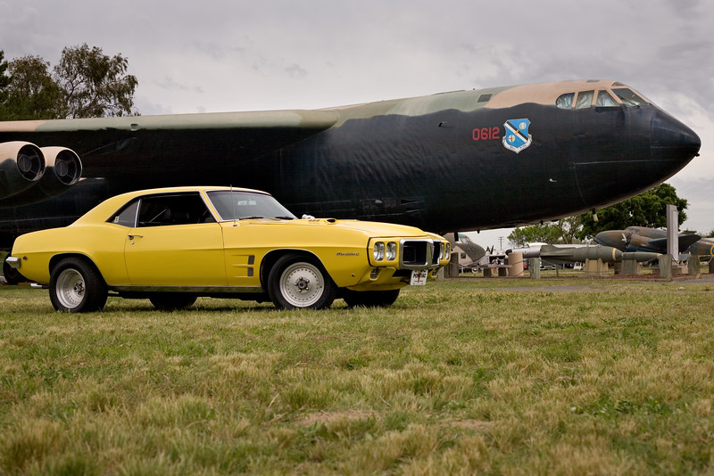 The Firebird in front of a B-52 at the Castle Air Museum, April 22, 2017.