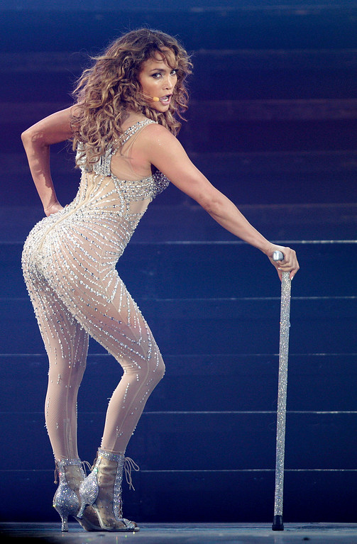 ". Singer Jennifer Lopez performs in her ""Dance Again\"" world tour that kicked off in Panama City, Thursday, June 14, 2012. (AP Photo/Arnulfo Franco)"