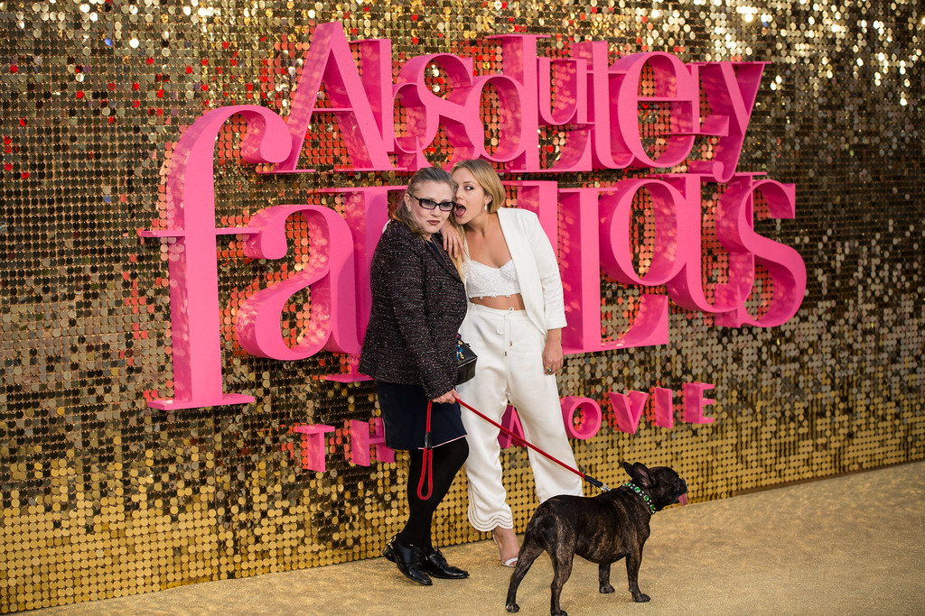 . Actress Carrie Fisher and daughter Billie Catherine Lourd pose for photographers upon arrival at the world premiere of the film \'Absolutely Fabulous\' in London, Wednesday June 29, 2016. (Photo by Vianney Le Caer/Invision/AP)