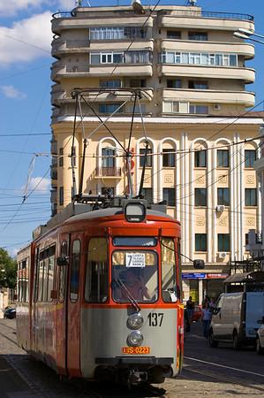 Tram on Piata Unirii, Iasi, Moldavia, Romania