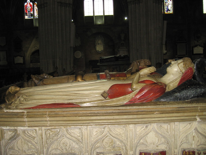 Tomb of Sir John Beauchamp of Holt, a favorite of Richard II. He was ordered executed by action of the Merciless Parliament of 1388, Worcester Cathedral