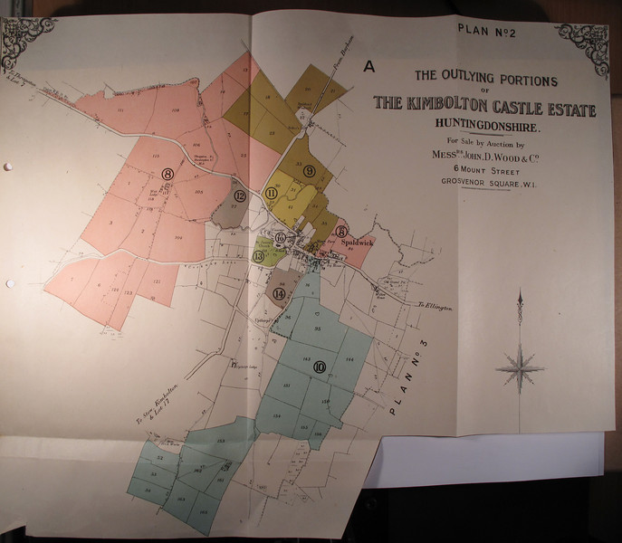 Map showing The Outlying Portions of The Kimbolton Castle Estate. Kindly provided by the Norris Museum