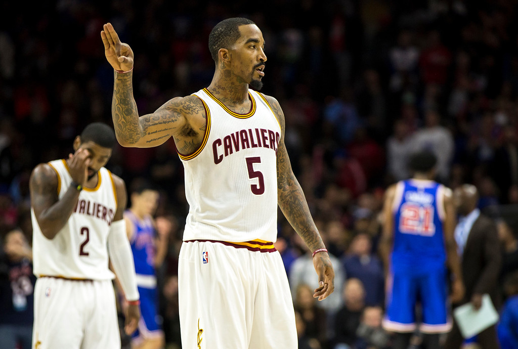 . Cleveland Cavaliers\' J.R. Smith reacts to Channing Frye three-pointer during the second half of an NBA basketball game against the Philadelphia 76ers, Saturday, Nov. 5, 2016, in Philadelphia. The Cavaliers won 102-101. (AP Photo/Chris Szagola)
