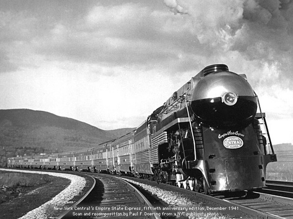 EMPIRE STATE EXPRESS, NEW YORK CENTRAL  Railroad. In the mid 1930's many railroads covered some of their newer steam powered passenger engines in sheet metal streamlining so they would carry a better image at the dawn of the diesel train age. PHOTO LOUISVILLEARTDECO.COM